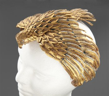 "A falcon headdress worn by Elizabeth Taylor in the 1963 film ""Cleopatra"" is pictured in this undated handout photograph released to Reuters"