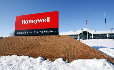 A view of the corporate sign outside the Honeywell International Automation and Control Solutions manufacturing plant in Golden Valley, Minn