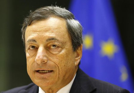European Central Bank (ECB) President Mario Draghi takes part in the European Parliament's Economic and Monetary Affairs Committee in Brusse