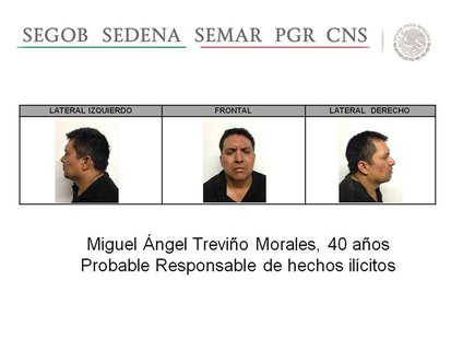 A handout photograph released during a news conference by the Mexican government on July 15, 2013 shows a series of photographs of Miguel An