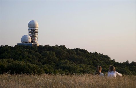 Antennas of the former National Security Agency (NSA) listening station are seen at the Teufelsberg hill, or Devil's Mountain, in Berlin, Ju
