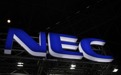 A logo of NEC Corp. is seen at Wireless Japan 2012, a smartphone and mobilephone technology exhibition, in Tokyo May 31, 2012. REUTERS/Issei