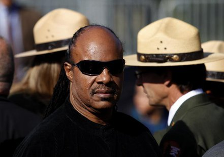 Entertainer Stevie Wonder arrives at the Martin Luther King, Jr. memorial dedication ceremony at the National Memorial in Washington October