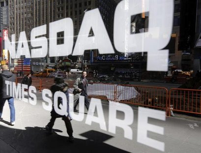 The Nasdaq logo is seen on the exterior of the Nasdaq MarketSite in New York, April 2, 2013. REUTERS/Brendan McDermid