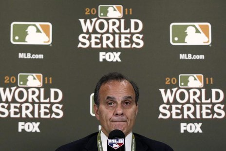 Major League Baseball executive vice president of baseball operations Joe Torre announces the cancellation of Game 6 of the World Series bas