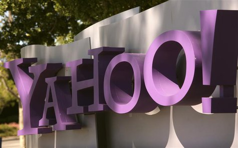 The Yahoo logo is shown at the company's headquarters in Sunnyvale, California April 16, 2013. The company will release its quarterly result