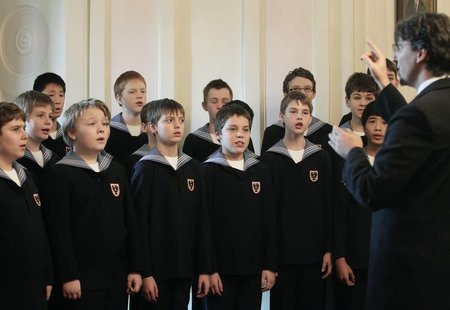 Members of the Vienna Boys Choir perform during a visit of Austrian President Heinz Fischer (not pictured) at their home in Vienna, January