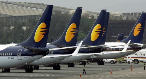 Jet Airways aircraft stand on tarmac at the domestic airport terminal in Mumbai September 9, 2009. REUTERS/Punit Paranjpe