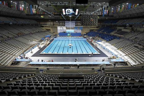 A general view is seen of the swimming pool ahead of the upcoming World Swimming Championships at the Sant Jordi arena in Barcelona, July 17
