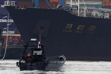 North Korean container ship ''Chong Chon Gang'' docks at the Manzanillo International Container Terminal in Colon City July 16, 2013. REUTER