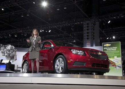 Cristi Landy, Chevrolet marketing director for small cars speaks during the debut of the 2014 Chevy Cruze Clean Turbo Diesel at the Chicago