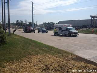 A highway worker was injured after being struck by a vehicle in Howard on Wednesday, July 17, 2013. (courtesy of FOX 11).