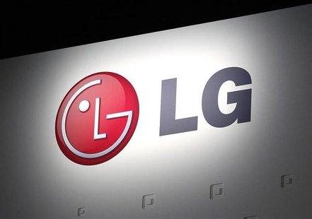 LG Electronics' company logo is displayed at their news conference at the Consumer Electronics Show (CES) in Las Vegas January 7, 2013. REUT