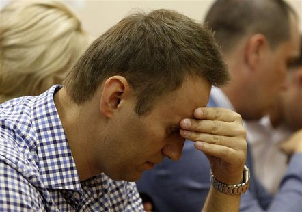 Russian protest leader Alexei Navalny attends a court hearing in Kirov, July 18, 2013. Navalny was found guilty of theft on Thursday at a tr
