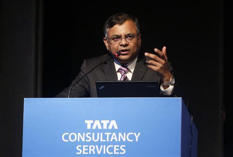 N. Chandrasekaran, chief executive officer of Tata Consultancy Services (TCS), speaks during TCS' Annual General Meeting in Mumbai June 28,