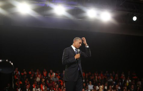 U.S. President Barack Obama participates in a town hall-style meeting with young African leaders at the University of Johannesburg in Soweto