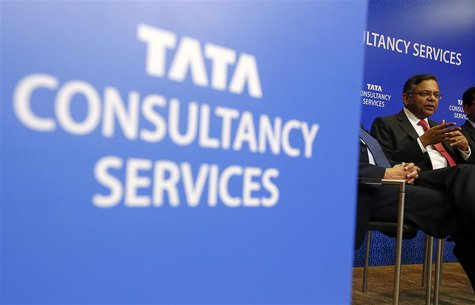 Tata Consultancy Services (TCS) Chief Executive N. Chandrasekaran speaks during a news conference in Mumbai July 18, 2013. REUTERS/Vivek Pra