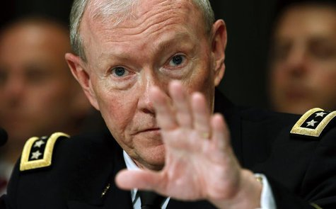 "U.S. Chairman of the Joint Chiefs of Staff Gen. Martin Dempsey testifies at a Senate Appropriations Defense Subcommittee hearing on ""Departm"