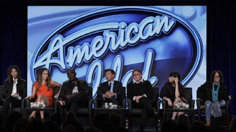 "(L - R) Steven Tyler, Jennifer Lopez, Randy Jackson, Ryan Seacrest, Ken Warwick, Cecile Frot-Coutaz and Mike Darnell of ""American Idol"" take"