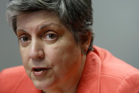 U.S. Homeland Security Secretary Janet Napolitano speaks to reporters during the Reuters Cybersecurity Summit in Washington, May 14, 2013. R