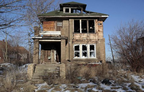 A vacant, blighted home is seen in a once thriving neighborhood in Detroit, Michigan February 6, 2013. REUTERS/Rebecca Cook
