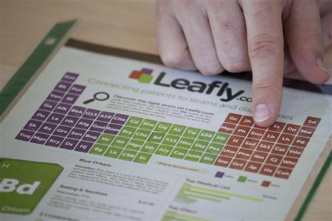 Brendan Kennedy, CEO of Privateer Holdings and President of Leafly, displays a print advertisement for Leafly in Seattle Washington July 2,