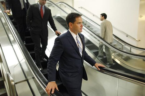 U.S. Senator Marco Rubio (R-FL) departs following the weekly Republican caucus luncheon at the U.S. Capitol in Washington June 18, 2013. REU