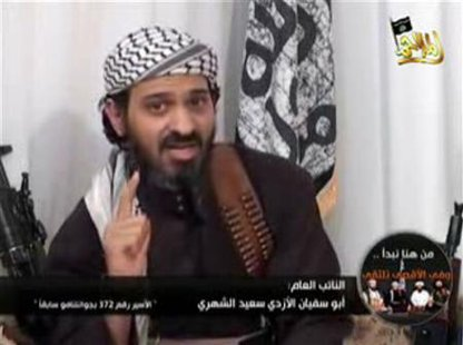 Deputy leader of al Qaeda in Yemen, Said al-Shehri, a Saudi national identified as Guantanamo prisoner number 372, speaks in a video posted on Islamist websites, in this January 24, 2009 file frame grab. Yemeni armed forces have killed al-Shehri, a man seen as the second-in-command of Al Qaeda in the Arabian Peninsula (AQAP), a government website said on September 10, 2012. Credit: Reuters/Handout/Files
