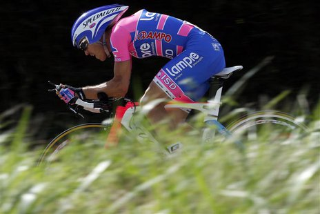 Lampre rider Damiano Cunego of Italy pedals during the 20th time trial stage in Grenoble during the Tour de France cycling race July 23, 201