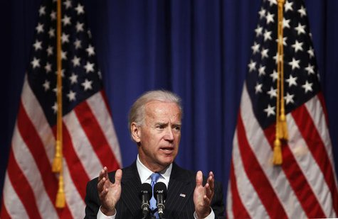 U.S. Vice President Joe Biden speaks regarding foreign policy at New York University in New York, April 26, 2012. REUTERS/Lucas Jackson