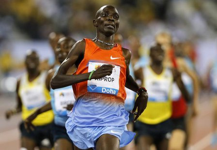 Asbel Kiprop of Kenya leads the men's 1500m at the IAAF Diamond League athletics meet in Doha May 10, 2013. REUTERS/Fadi Al-Assaad