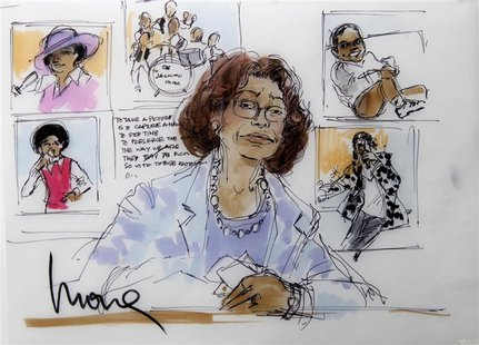 A courtroom sketch depicting the testimony of Katherine Jackson, mother of late pop star Michael Jackson, during Katherine Jackson's neglige