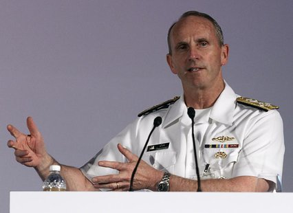 U.S. Navy's Chief of Naval Operations Admiral Jonathan Greenert speaks during the International Maritime Security Conference in Singapore Ma