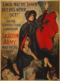"""'A man may be down but he's never out!' Home Service Fund Campaign. Salvation Army. May 19 — 26 1919."" Salvation Army poster. By Frederick Duncan [Public domain], via Wikimedia Commons"