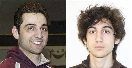 Tamerlan Tsarnaev (L), 26, is pictured in 2010 in Lowell, Massachusetts, and his brother Dzhokhar Tsarnaev, 19, is pictured in an undated FBI handout photo in this combination photo. The two are suspects in the April 15, 2013 bombing at the Boston Marathon. Tamerlan Tsarnaev was shot and killed by police April 19, 2013. Police continue to search for Dzhokhar Tsarnaev.  REUTERS/The Sun of Lowell, MA/FBI/Handout
