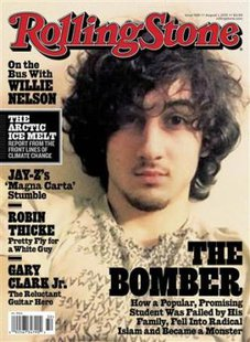 "Accused Boston bomber Dzhokhar Tsarnaev is seen on the cover of the August 1 issue of ""Rolling Stone"" magazine in this handout image received by Reuters July 17, 2013. Boston officials reacted with outrage Wednesday to an upcoming cover of ""Rolling Stone"" magazine, featuring an image of accused marathon bomber Dzhokhar Tsarnaev that was described by Mayor Thomas Menino as ""a disgrace.""  REUTERS/Rolling Stone Magazine/Handout via Reuters"