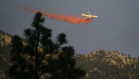 A DC-10 super air tanker makes a drop on a upper ridge line near Idyllwild, California July 19, 2013. REUTERS/Gene Blevins