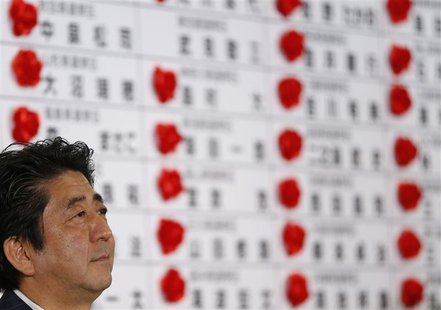 Japan's Prime Minister Shinzo Abe, and the leader of the ruling Liberal Democratic Party (LDP), listens to a question during an interview by