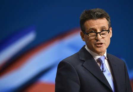Sebastian Coe, chairman of the organising committee for the London Olympics speaks at the Conservative Party conference in Birmingham, centr