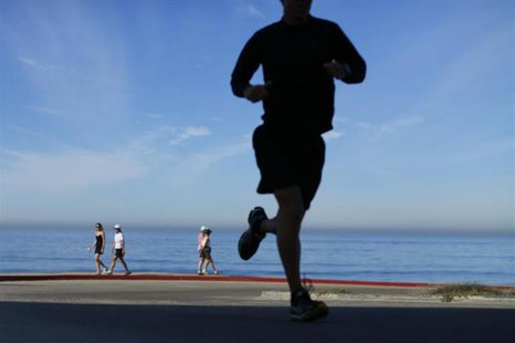 People walk and jog at Torrey Pines State Park in San Diego, California, November 14, 2012. REUTERS/Mike Blake