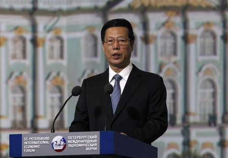 Chinese Vice Premier Zhang Gaoli delivers a speech during a session of the St. Petersburg International Economic Forum in St. Petersburg, Ju