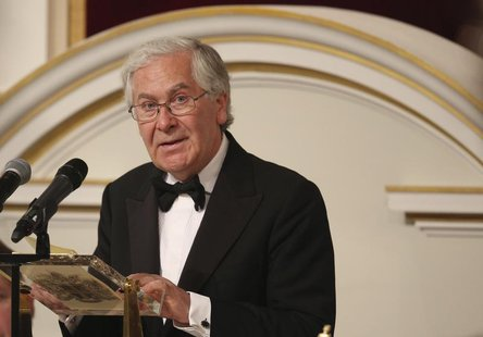 Governor of the Bank of England Mervyn King addresses the audience of the 'Lord Mayor's Dinner to the Bankers and Merchants of the City of L