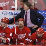 Detroit Red Wings head coach Mike Babcock stands behind Justin Abdelkader (8), Johan Franzen (seated C) and Pavel Datsyuk (seated R) in the