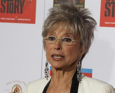 "Cast member Rita Moreno poses as she arrives for a screening in honor of the ""West Side Story: 50th Anniversary Edition"" Blu-ray release in"