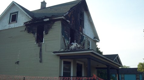 Most of the fire damage was contained upstairs, but not all of it. .