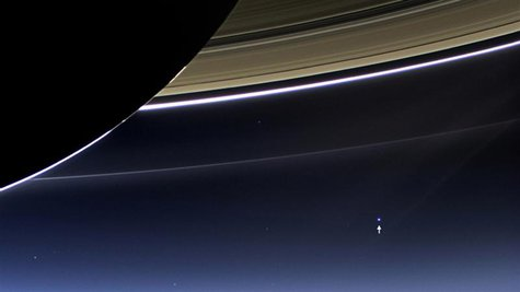The wide-angle camera on NASA's Cassini spacecraft has captured Saturn's rings and planet Earth and its moon in the same frame in this rare