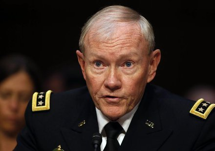 Chairman of the Joint Chiefs General Martin Dempsey testifies about pending legislation regarding sexual assaults in the military at a Senat
