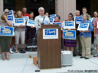 Surrounded by supporters in front of Appleton West High School, State Rep. Penny Bernard Schaber (D-Appleton) announces plans to run for the state Senate, July 23, 2013. (courtesy of FOX 11).