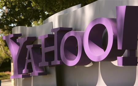 The Yahoo logo is seen at the company's headquarters in Sunnyvale, California, in this April 16, 2013 file picture.  REUTERS/Robert Galbraith/Files