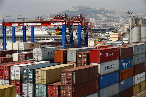 Containers are seen at Naples harbour July 13, 2013. Italy, a high-fashion Mecca and home to a culture obsessed with elegant appearances, wa